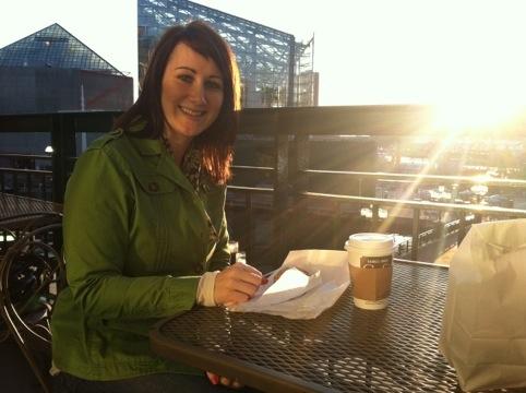 Coffee on the B&N deck